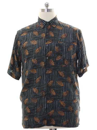 1990's Robert Stock Mens Silk Graphic Print Shirt