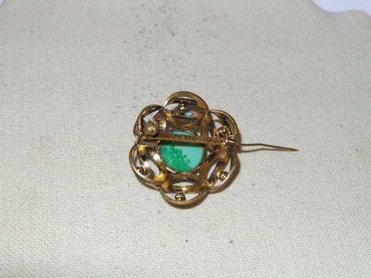 Vintage Faux Jade and Faux Pearl Brooch - image 2