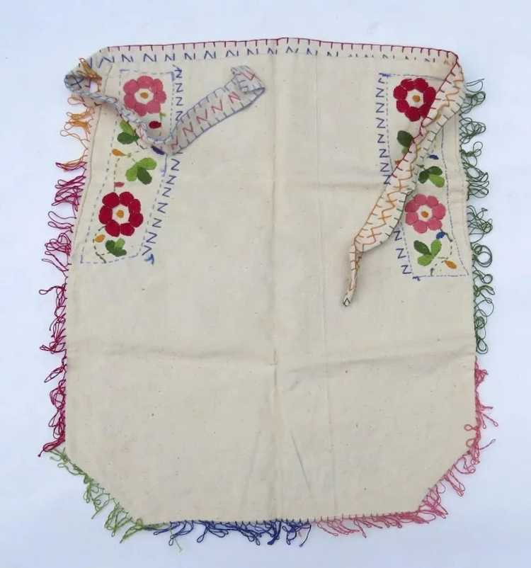 Vintage Hand Embroidered Small Apron Hungarian Fo… - image 3