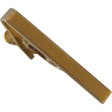 Scrolled Engraved Gold Tone Simple Plain Vintage FOSTER Tie Bar Clip