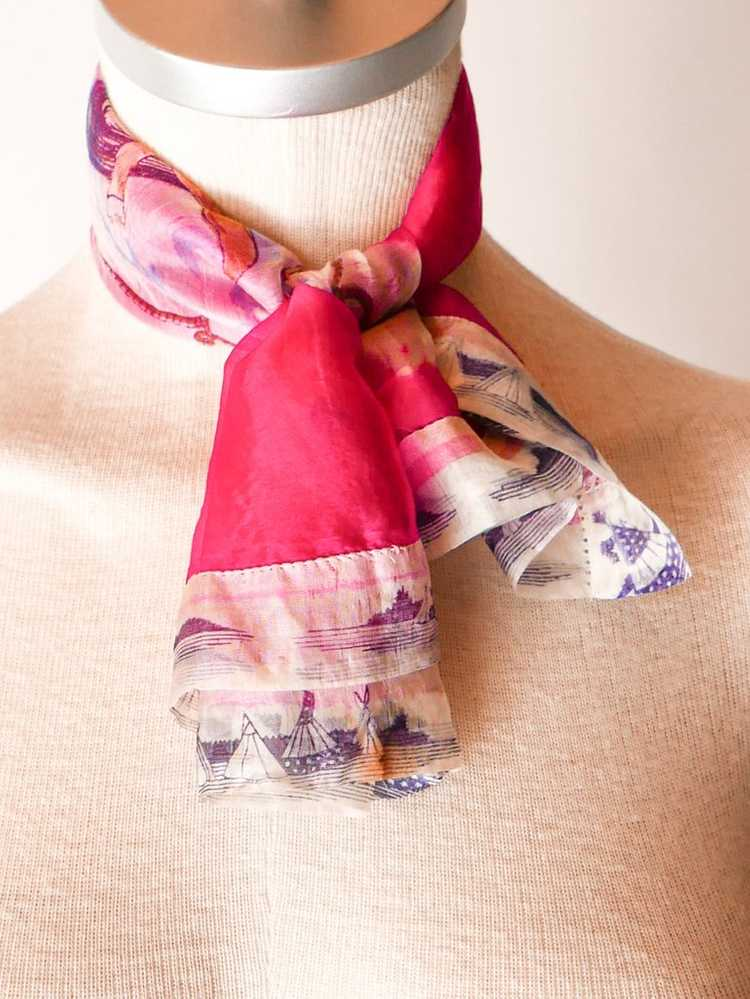 Pendleton Roundup Raspberry Silk Scarf - image 5