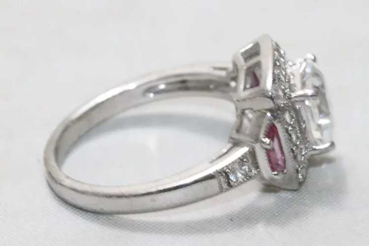 Sterling Silver Cubic Zirconia Ruby Ring - image 2