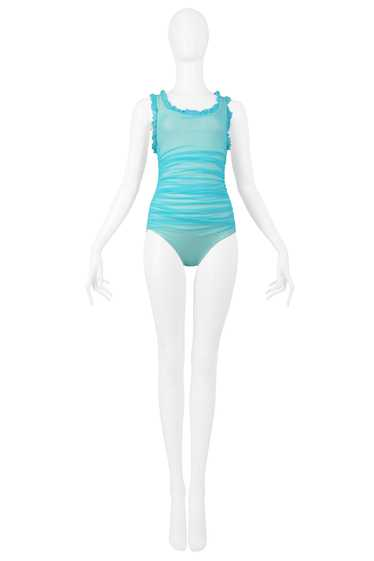 CHANEL TURQUOISE RUCHED ONE PIECE SWIMSUIT 2001
