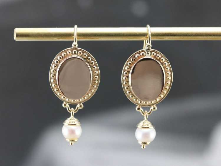 Vintage Yellow Gold and Pearl Drop Earrings - image 7