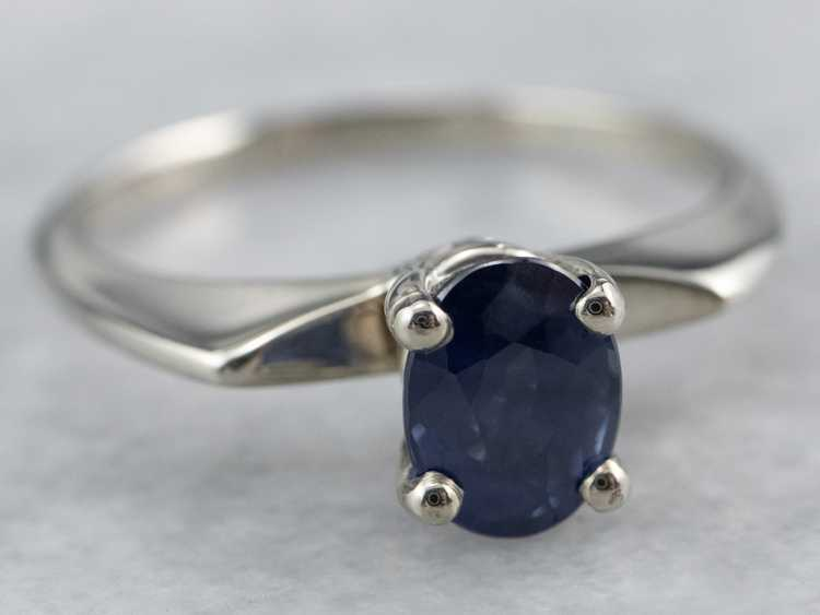 White Gold Sapphire Solitaire Ring - image 2