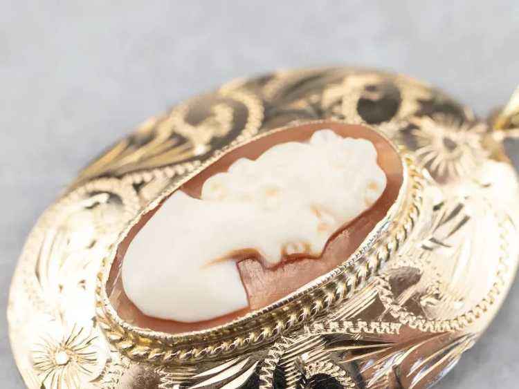 Floral Mid Century Cameo Pendant - image 6