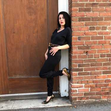 1970s Does 50s Bad Girl Black Catsuit Jumpsuit