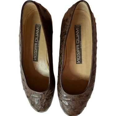 1980s Maud Frizon Brown Ostrich Leather Flats Shoe