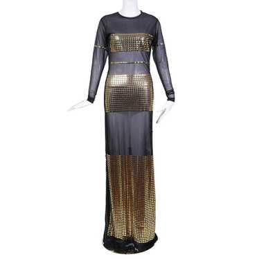 Black Mesh and Gold Button Dress