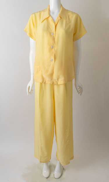 1940s Lemon Yellow Satin Pajamas