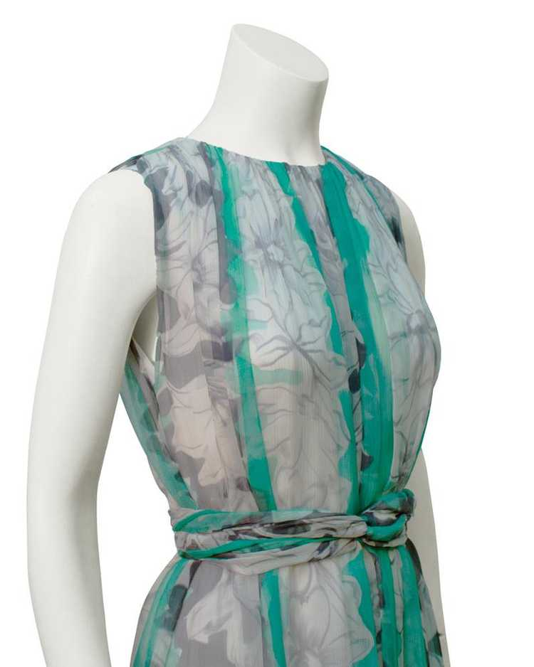 Pauline Trigere Green and Grey Chiffon gown - image 4