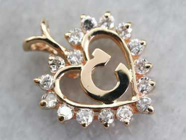 "Diamond Halo ""C"" Initial Pendant"