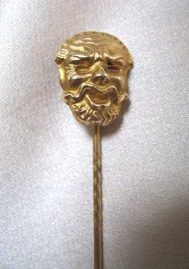 Antique French EDWARDIAN Gold Filled Fun HEAD Stic