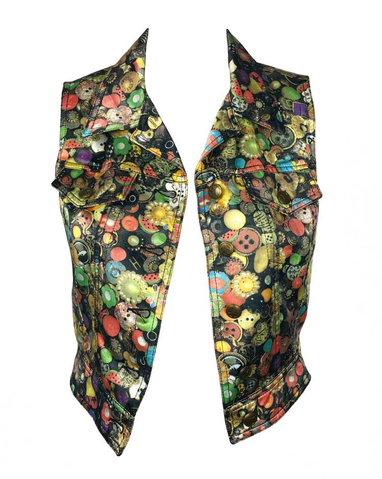 Moschino Rare 'Buttons' Print 1990s Cropped Vest … - image 4