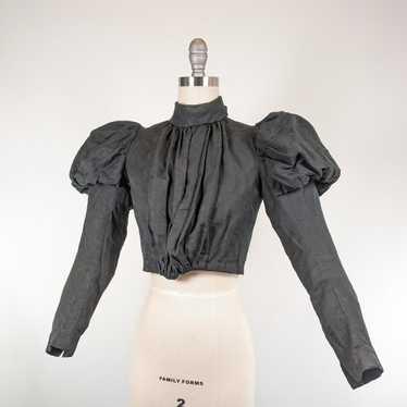 1890s Black Gigot Sleeve Bodice | Cotton/Blend