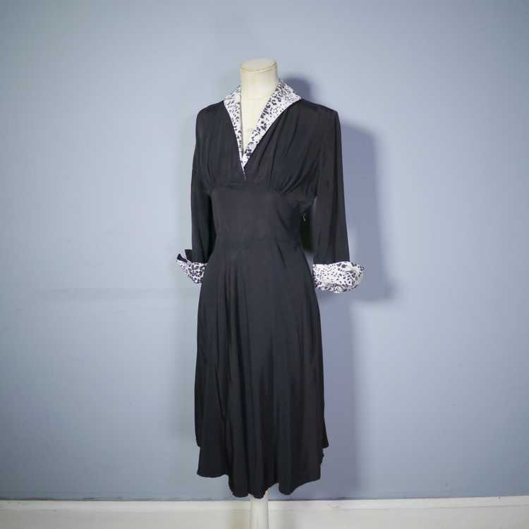 "40s 50s BLACK RAYON ""BICKLER"" DRESS WITH LEOPARD … - image 9"