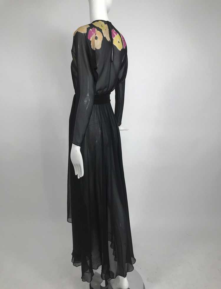 Vintage 1930s Floral Print Bias Cut Black Silk Ch… - image 4