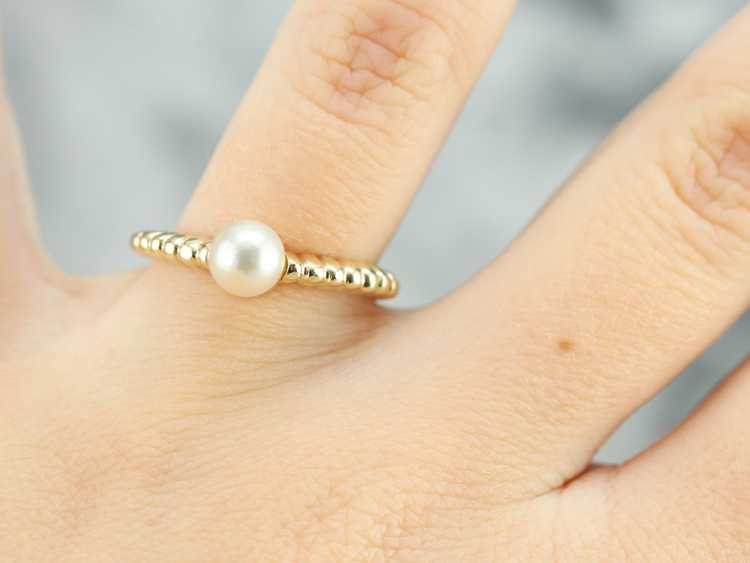 Yellow Gold Pearl Solitaire Ring - image 4