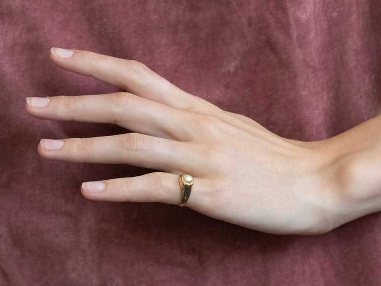 Bezel Set Pearl Gold Solitaire Ring - image 10