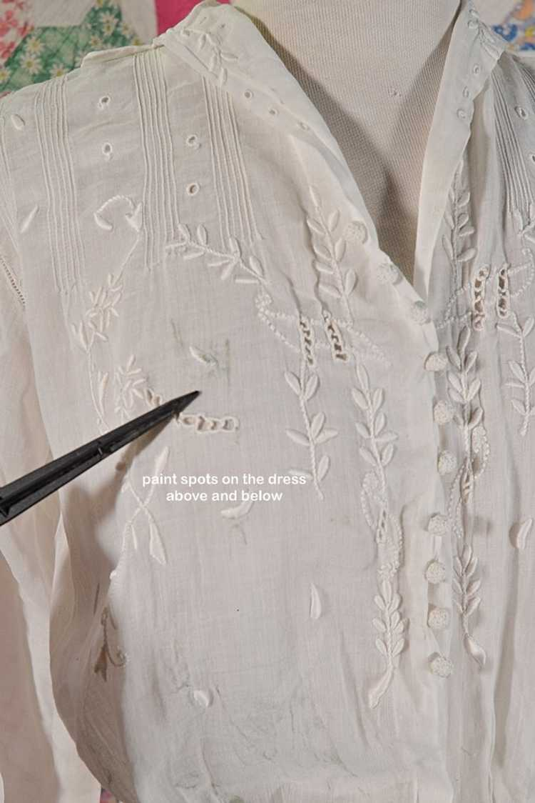 Antique Edwardian Lawn Dress, Embroidered Details - image 13