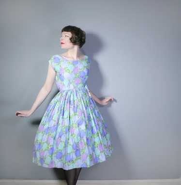 50s FLORAL ROSE DRESS IN BLUE, GREEN AND LILAC CO… - image 1
