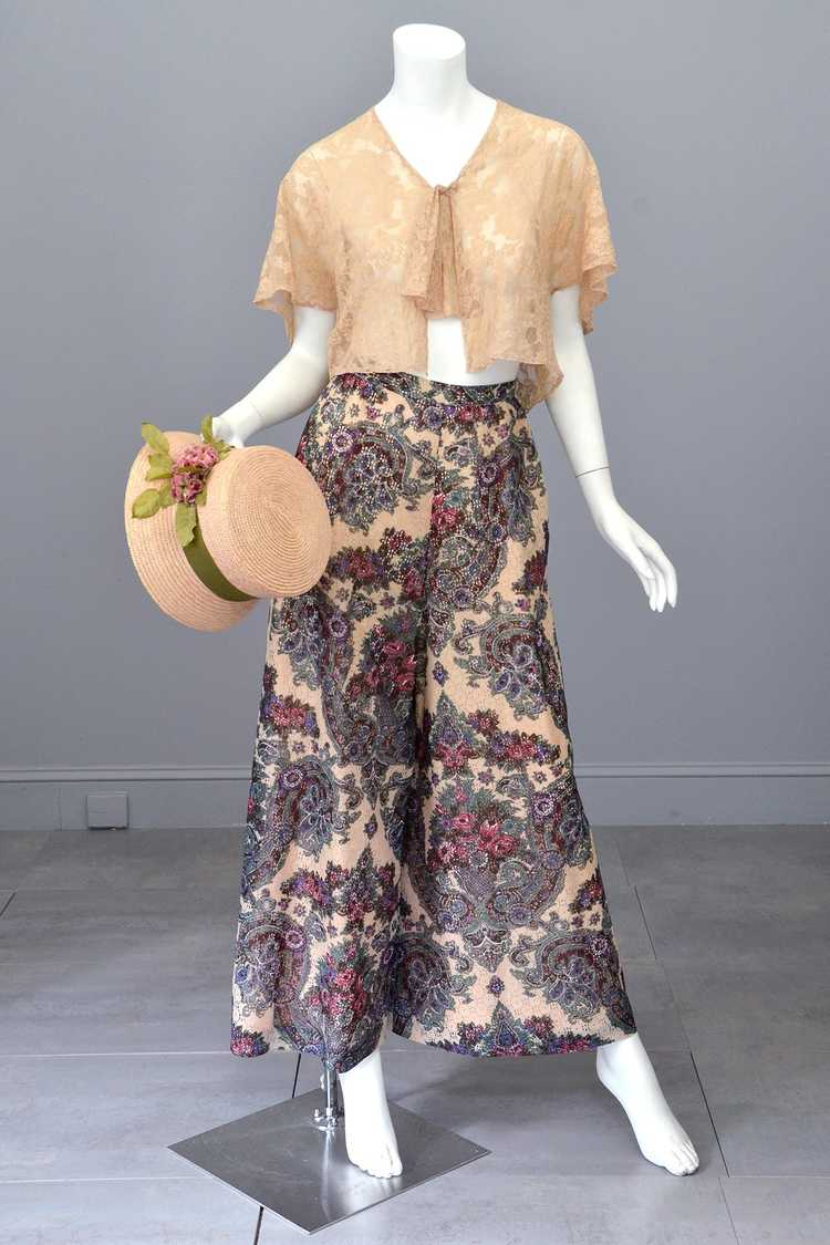 1970s Lacey Floral Print Palazzo Pants - image 8