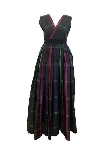 Pauline Trigere 70s Plaid Silk Taffeta Gown - image 1