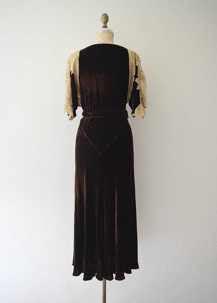 1930s velvet gown . vintage 30s bias cut dress - image 3
