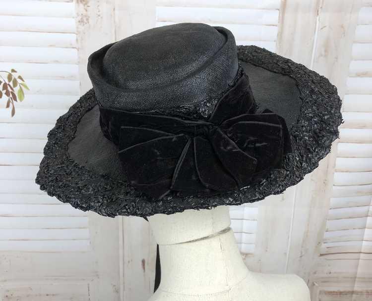 Original 1930s 30s Black Straw And Velvet Wide Br… - image 9