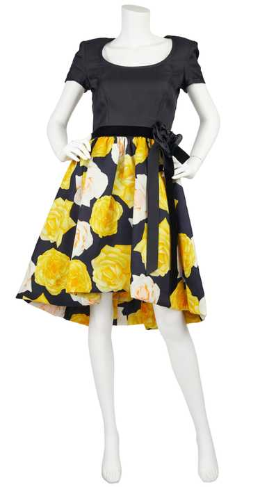 1980s Couture Rose Print Full Skirt Cocktail Dress - image 1