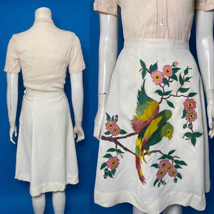 hand painted 1940s skirt - image 2