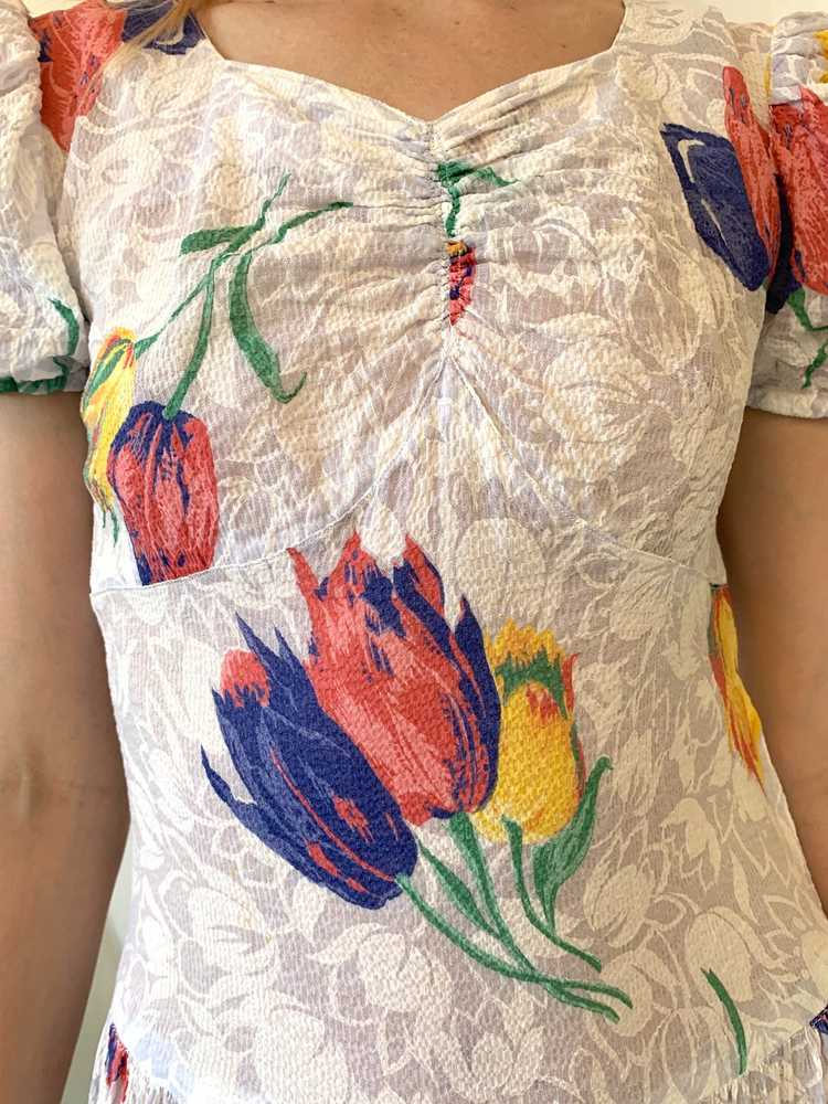 Tulip Print Voile Garden Party Dress - image 4