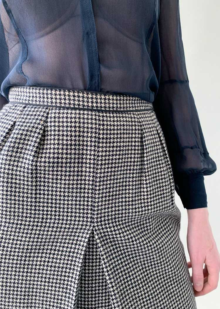 Vintage 1970s Yves Saint Laurent Houndstooth Skirt - image 3