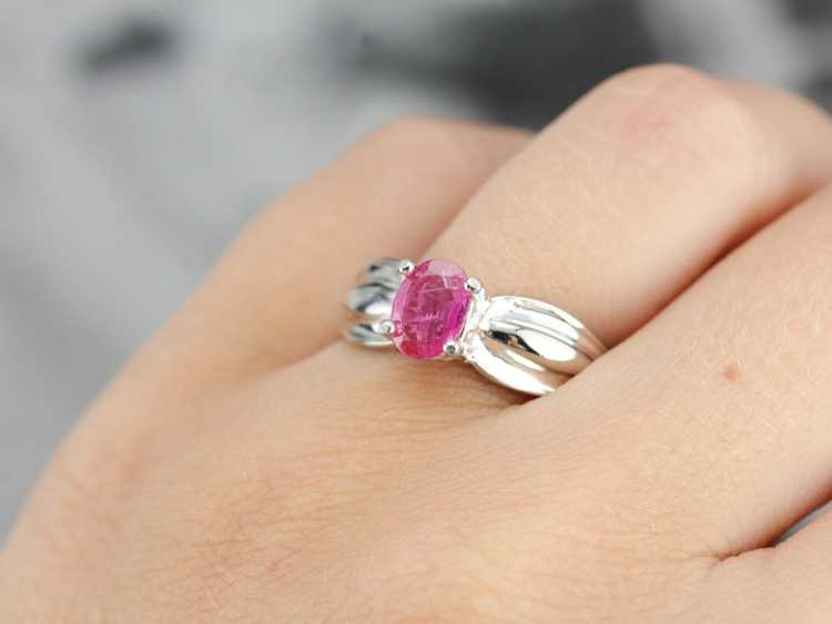 Ruby Solitaire Ring in Sterling Silver - image 5