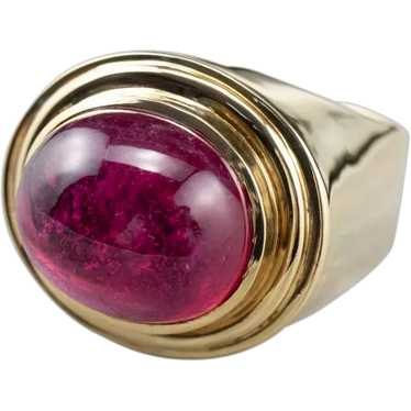 Hot Pink Tourmaline Cabochon Ring