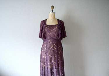 1930s lace dress . vintage 30s purple lace dress