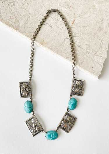 Vintage 1930s Egyptian Revival Scarab Necklace
