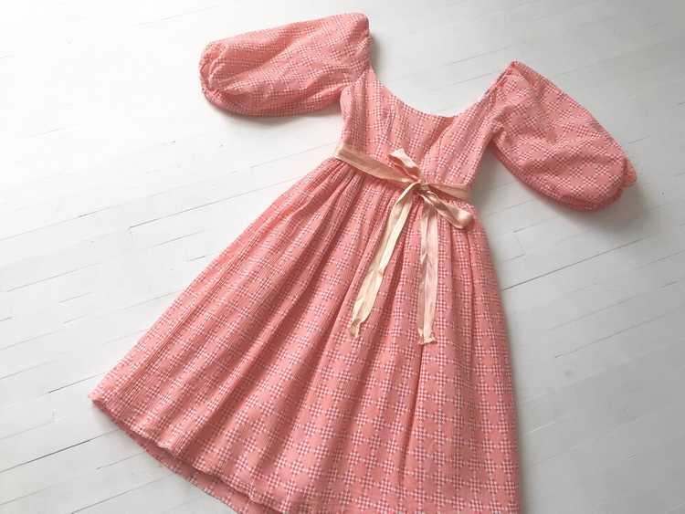 1980s Peach Diamond Print Dress with Balloon Slee… - image 1