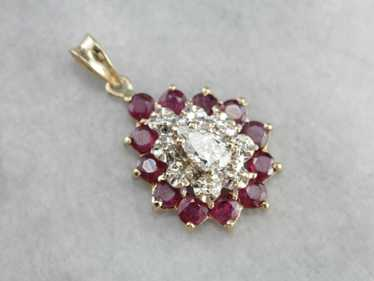 Diamond Ruby Halo Pendant