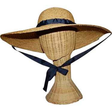 Wide Brimmed Straw Hat Women's 19th c Rural Style - image 1