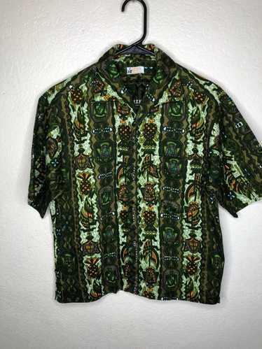 Vintage Vintage 50s 60s Green Bark Cloth Hawaiian