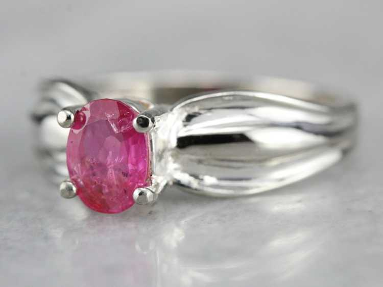 Ruby Solitaire Ring in Sterling Silver - image 2