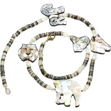 Mother of Pearl Safari Shell Beaded Necklace
