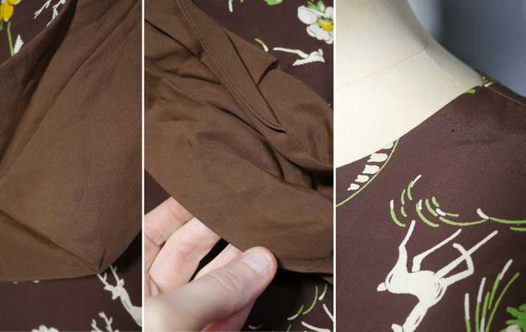 40s NOVELTY DEER AND FLOWER PRINT BROWN RAYON DRE… - image 14