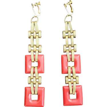 Shoulder Sweeping Red and Golden Chain Link Earrin