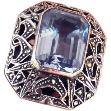Size 6 Sparkling Glittering Sapphire Stone in Raised Edwardian Open Work Filigree 1 Sterling Marcasite Filigree Sapphire Ring Only 99.90