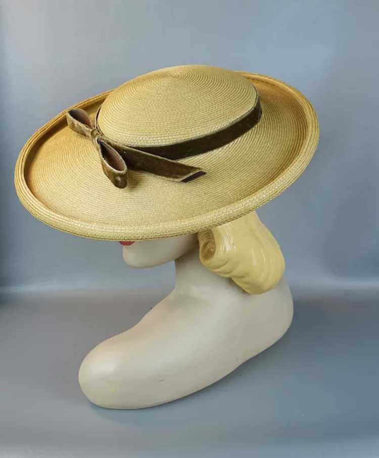 1950s Natural Straw Wide Brim Picture Hat - image 5