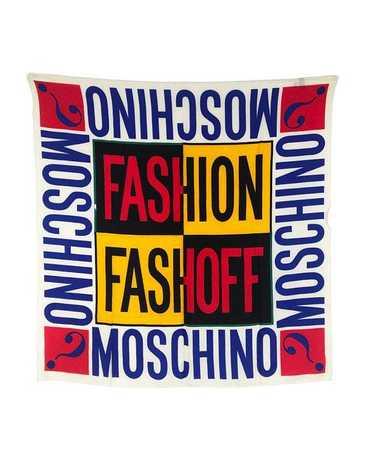 Moschino 1990s Logo Slogan Scarf