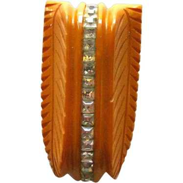 Bakelite Clip with Rhinestones / Carved Bakelite D