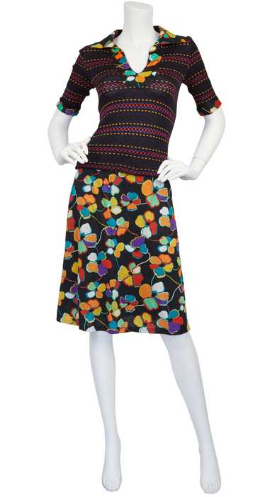 Missoni c. 1972 Knit and Floral Jersey Two-Piece S